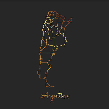 provinces: Argentina region map: golden gradient outline on dark background. Detailed map of Argentina regions. Vector illustration. Illustration