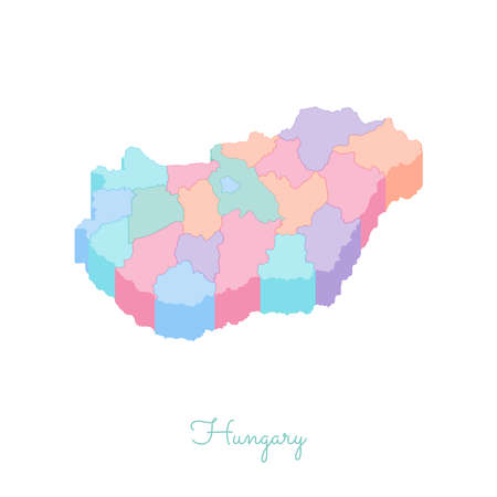 Hungary region map: colorful isometric top view. Detailed map of Hungary regions. Vector illustration. Illusztráció