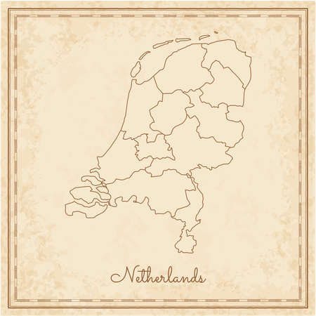 Netherlands region map: stilyzed old pirate parchment imitation. Detailed map of Netherlands regions. Vector illustration.