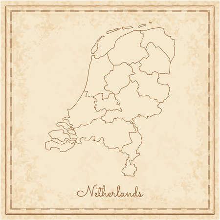 Netherlands region map: stilyzed old pirate parchment imitation. Detailed map of Netherlands regions. Vector illustration.
