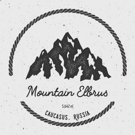 Elbrus in Caucasus, Russia outdoor adventure logo. Round hiking vector insignia. Climbing, trekking, hiking, mountaineering and other extreme activities logo template.