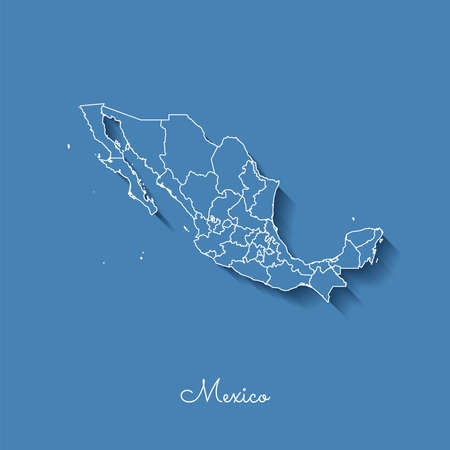 provinces: Mexico region map: blue with white outline and shadow on blue background. Detailed map of Mexico regions. Vector illustration. Illustration