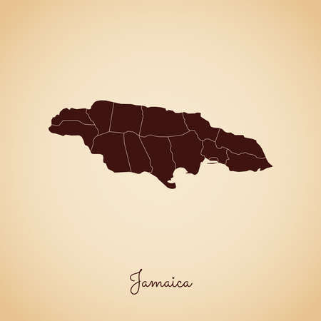 Jamaica region map: retro style brown outline on old paper background. Detailed map of Jamaica regions. Vector illustration.