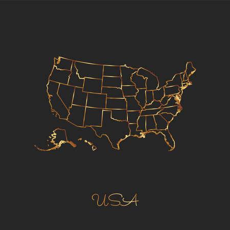 USA region map: golden gradient outline on dark background. Detailed map of USA regions. Vector illustration.