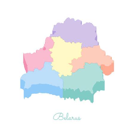 Mappa della regione di Bielorussia: colorato vista superiore isometrica. Mappa dettagliata delle regioni della Bielorussia. Illustrazione vettoriale