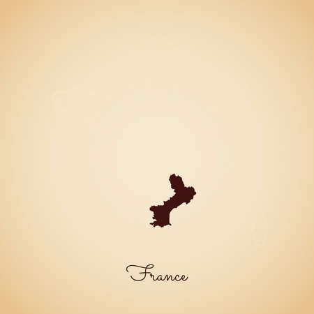 France region map: retro style brown outline on old paper background. Detailed map of France regions. Vector illustration.