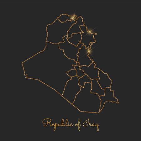 Republic of Iraq region map: golden glitter outline with sparkling stars on dark background. Detailed map of Republic of Iraq regions. Vector illustration. Illustration