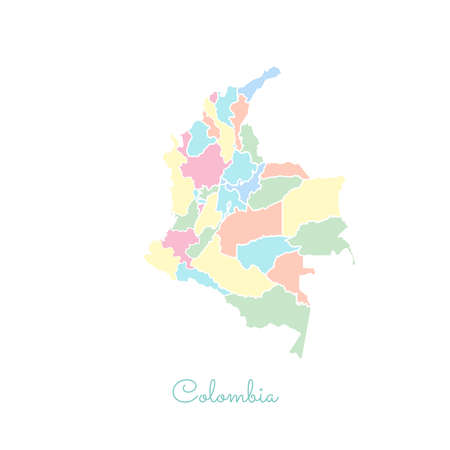 colombian: Colombia region map: colorful with white outline. Detailed map of Colombia regions. Vector illustration. Illustration
