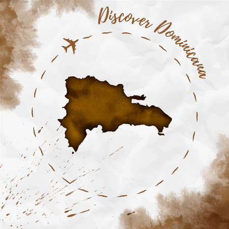 Dominicana-Aquarellkarte in Sepia-Farben. Entdecken Sie das Dominicana-Poster mit Flugzeugspur und handgemalter Aquarell-Dominicana-Karte auf zerknittertem Papier. Vektor-Illustration