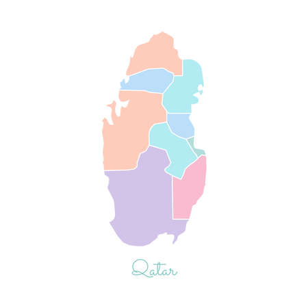 Qatar region map: colorful with white outline. Detailed map of Qatar regions. Vector illustration. Illustration