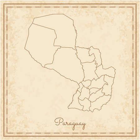 provinces: Paraguay region map: stilyzed old pirate parchment imitation. Detailed map of Paraguay regions. Vector illustration. Illustration