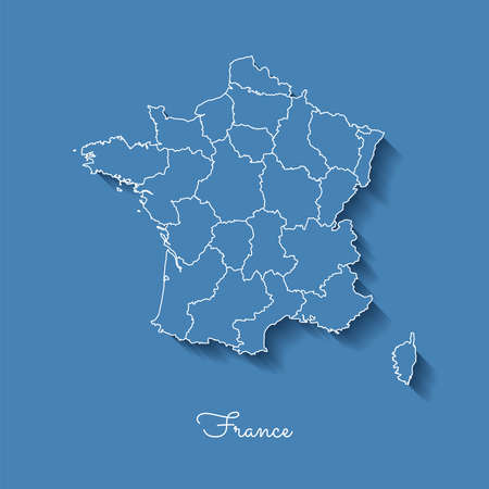provinces: France region map: blue with white outline and shadow on blue background. Detailed map of France regions. Vector illustration.