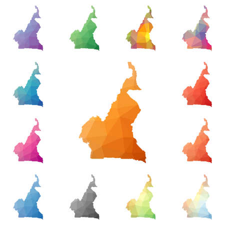 Cameroon geometric polygonal, mosaic style maps collection. Bright abstract tessellation, low poly style, modern design. Cameroon polygonal maps for your infographics or presentation.