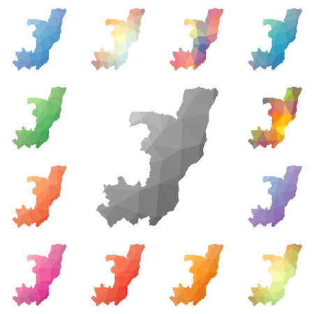 Congo geometric polygonal, mosaic style maps collection. Bright abstract tessellation, low poly style, modern design. Congo polygonal maps for your infographics or presentation. Illustration