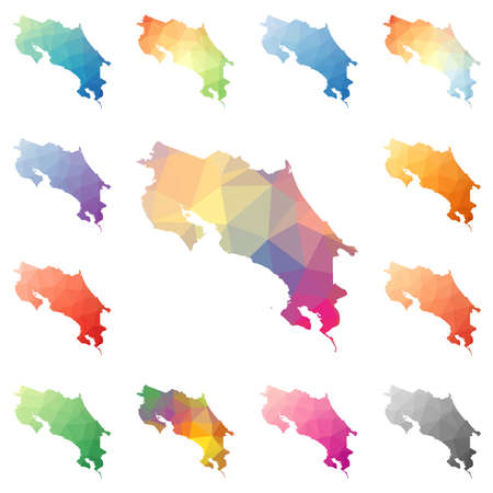 Costa Rica geometric polygonal, mosaic style maps collection. Bright abstract tessellation, low poly style, modern design. Costa Rica polygonal maps for your infographics or presentation.