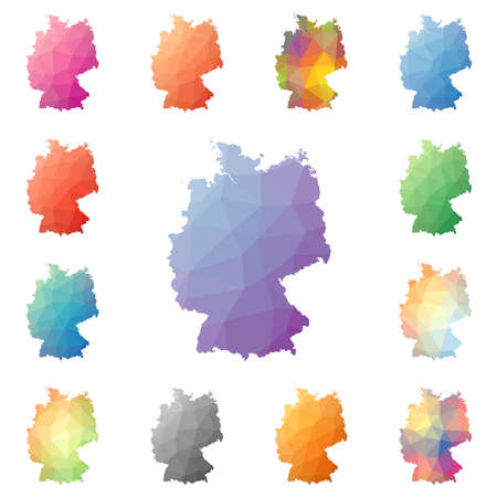 Germany geometric polygonal, mosaic style maps collection. Bright abstract tessellation, low poly style, modern design. Germany polygonal maps for your infographics or presentation. Illustration