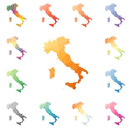 Italië geometrische veelhoekige, mozaïek stijl kaarten collectie. Heldere abstracte mozaïekpatroon, lage polystijl, modern ontwerp. Italië veelhoekige kaarten voor uw infographics of presentatie. Stock Illustratie