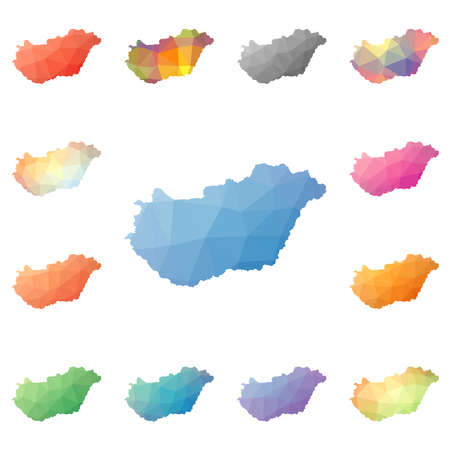 Hungary geometric polygonal, mosaic style maps collection. Bright abstract tessellation, low poly style, modern design. Hungary polygonal maps for your infographics or presentation. Illusztráció