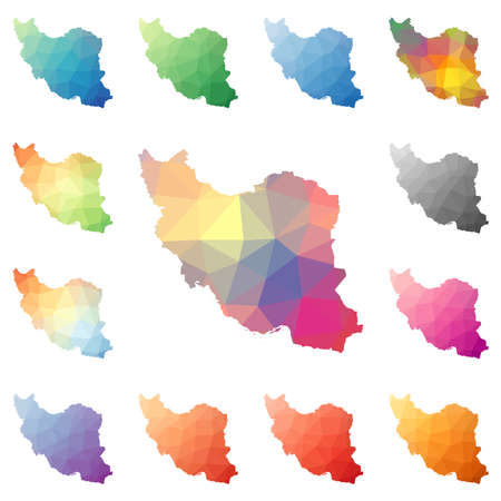 Iran geometric polygonal, mosaic style maps collection. Bright abstract tessellation, low poly style, modern design. Iran polygonal maps for your infographics or presentation.