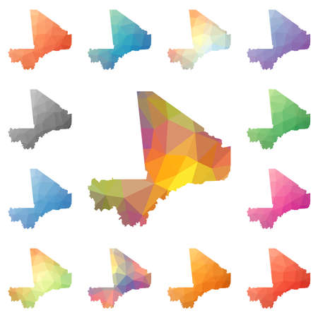 wanderlust: Mali geometric polygonal, mosaic style maps collection. Bright abstract tessellation, low poly style, modern design. Mali polygonal maps for your infographics or presentation.