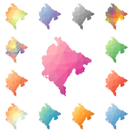 Montenegro geometric polygonal, mosaic style maps collection. Bright abstract tessellation, low poly style, modern design. Montenegro polygonal maps for your infographics or presentation.