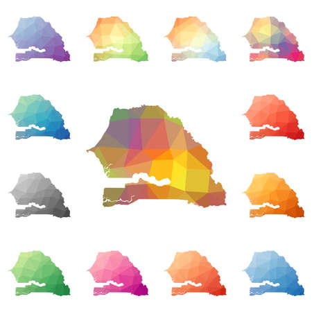 Senegal geometric polygonal, mosaic style maps collection.