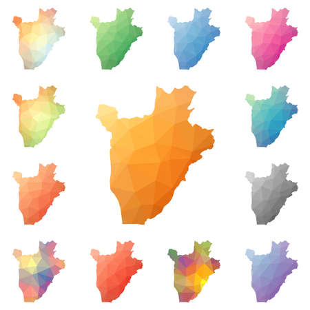 Burundi geometric polygonal, mosaic style maps collection. Illustration