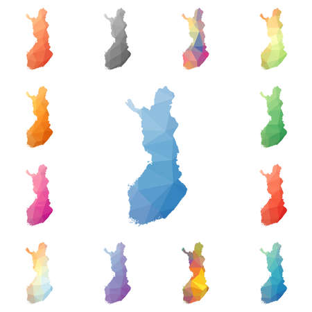 Finland geometric polygonal, mosaic style maps collection.