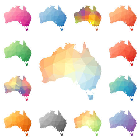Australia geometric polygonal, mosaic style maps collection.  イラスト・ベクター素材