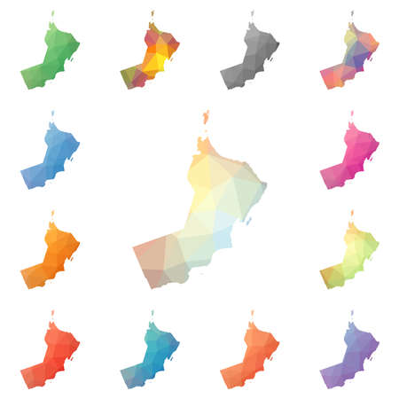 Oman geometric polygonal, mosaic style maps collection.