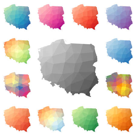 Poland geometric polygonal, mosaic style maps collection.