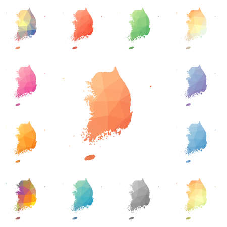 South Korea geometric polygonal, mosaic style maps collection.