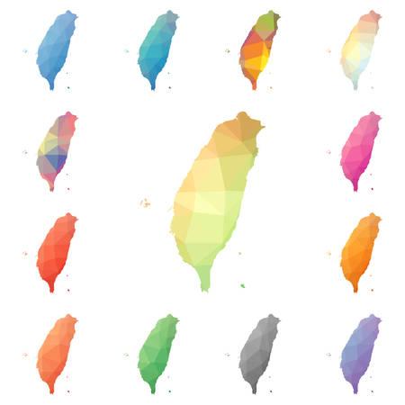 Taiwan geometric polygonal, mosaic style maps collection. Stock Illustratie