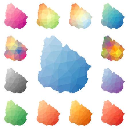 Uruguay geometric polygonal, mosaic style maps collection.