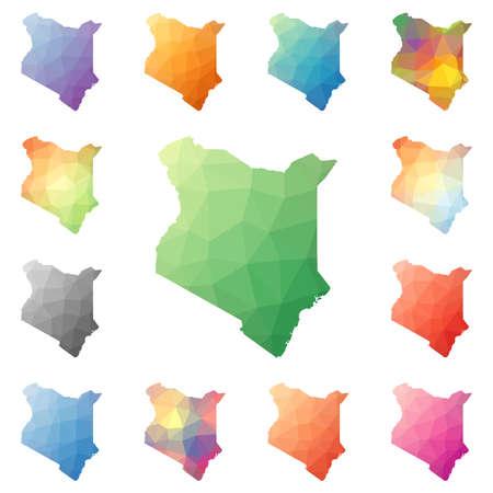 ケニア ジオメトリック多角形モザイク スタイル マップ コレクション。 写真素材 - 80980745