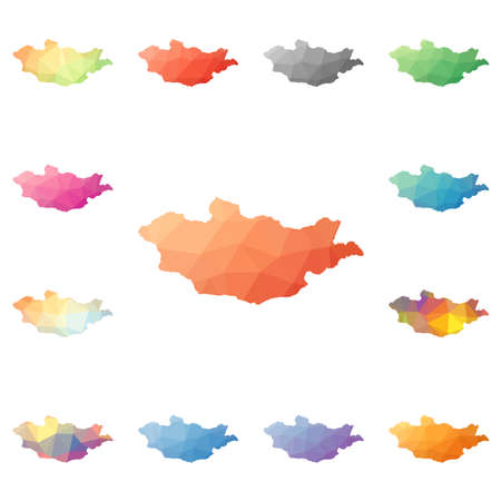 Mongolia geometric polygonal, mosaic style maps collection. Иллюстрация