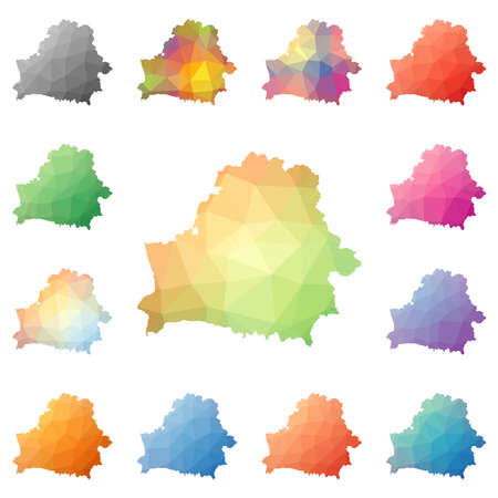 Belarus geometric polygonal, mosaic style maps collection.