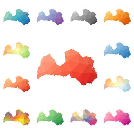 homeland: Latvia geometric polygonal, mosaic style maps collection. Illustration