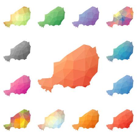 Niger geometric polygonal, mosaic style maps collection. Illustration