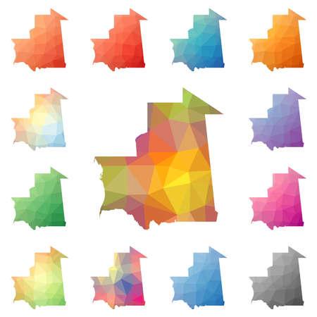Mauritania geometric polygonal, mosaic style maps collection.