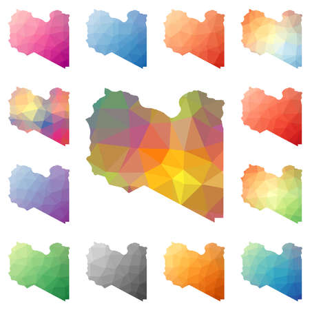 Libya geometric polygonal, mosaic style maps collection.