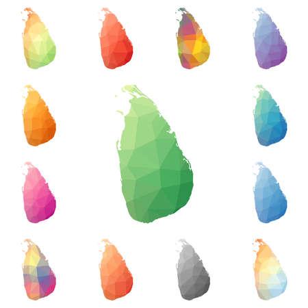 Sri Lanka geometric polygonal, mosaic style maps collection.