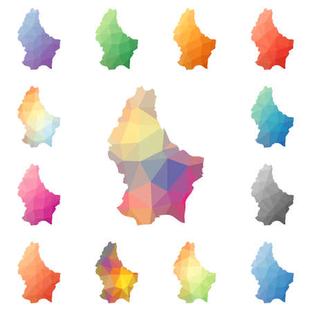 Luxembourg geometric polygonal, mosaic style maps collection.