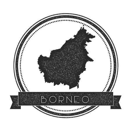 Borneo map stamp. Retro distressed insignia. Hipster round badge with text banner. Island vector illustration.