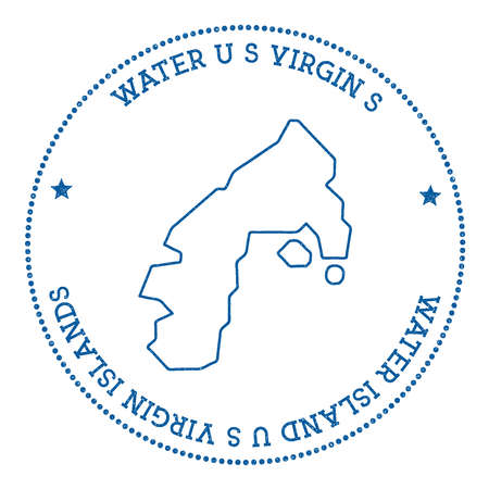 texturized: Water Island, U.S. Virgin Islands map sticker. Hipster and retro style badge. Minimalistic insignia with round dots border. Island vector illustration.