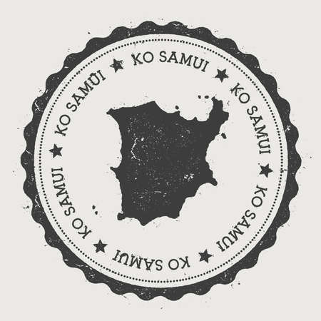 ko: Ko Samui sticker. Hipster round rubber stamp with island map. Vintage passport sign with circular text and stars, vector illustration. Illustration