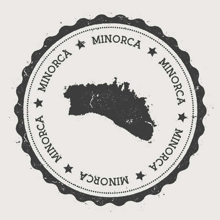 texturized: Minorca sticker. Hipster round rubber stamp with island map. Vintage passport sign with circular text and stars, vector illustration.