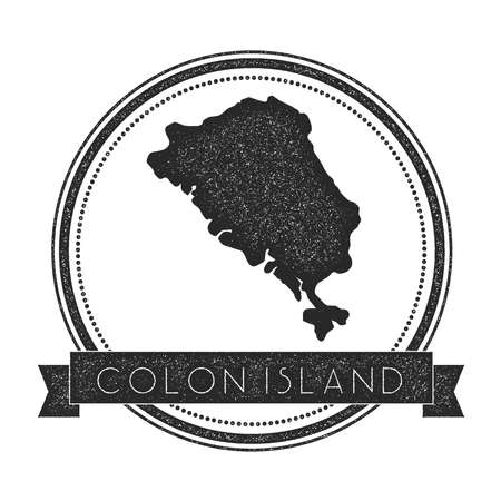 Colon Island map stamp. Retro distressed insignia. Hipster round badge with text banner. Island vector illustration. Illustration