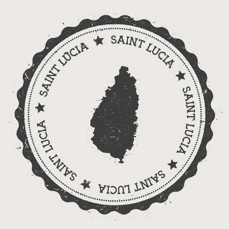 texturized: Saint Lucia sticker. Hipster round rubber stamp with island map. Vintage passport sign with circular text and stars, vector illustration. Illustration