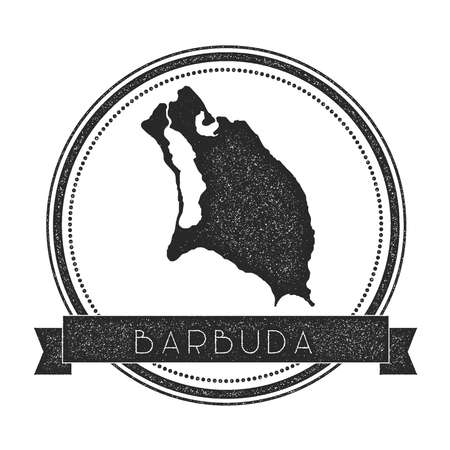 Barbuda map stamp. Retro distressed insignia. Hipster round badge with text banner. Island vector illustration.
